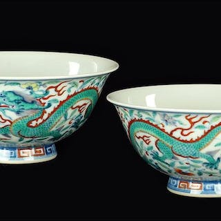 A Pair of Chinese Doucai 'Dragon' Bowls.