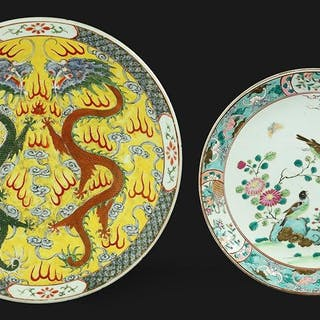 Two Chinese Enameled Porcelain Chargers.