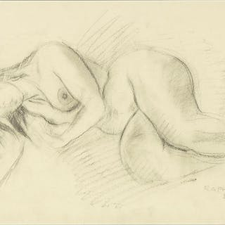 Raphael Soyer (American, 1899-1987) Reclining Nude.