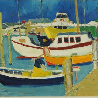 Bill Olendorf (American, 1924-1996) Boats at Dock.