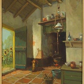 L. de Weter (20th Century) Kitchen Interior.