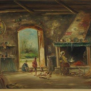 G. Lega (20th Century) Cottage Interior.