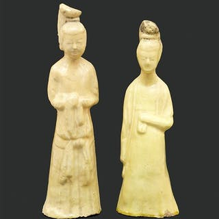 Two Chinese Han Style Celadon Glazed Terra Cotta Figure