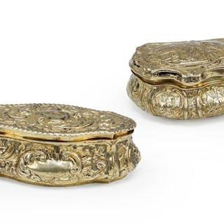 Two Gilt Silver Boxes.