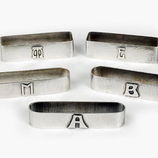 Five Hand Wrought Sterling Silver Napkin Rings.