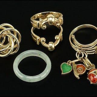 A 14 Karat Yellow Gold Ring Guard.