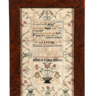 1825 SAMPLER by JANE LOSEE of GREENBURGH NY