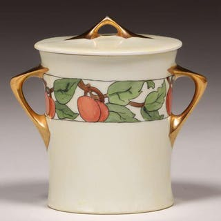A&C Hand-Painted Peaches Porcelain Covered Sugar Dish