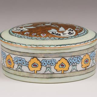 C.S. Babcock Hand-Decorated Porcelain Box c1910