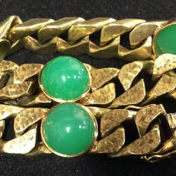 curb chain bracelet with cabachon crysophrases