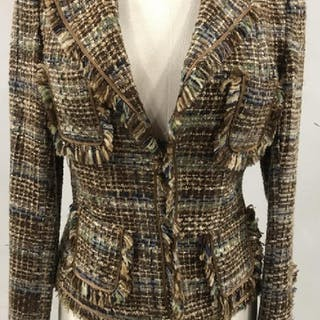 ANGEL NINA Designer Frayed Edge Tweed Jacket