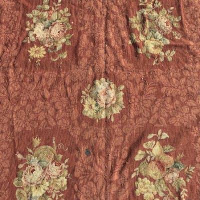Vintage Handmade Floral Detailed Needlepoint Rug