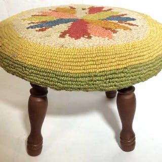 Footstool W Carpet Tapestry Upholstery