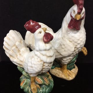 Pair Porcelain Rooster Figurals