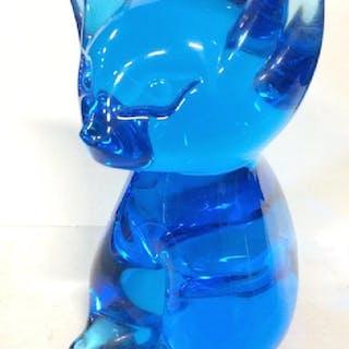 Blue Toned  Art Glass Cat Figural