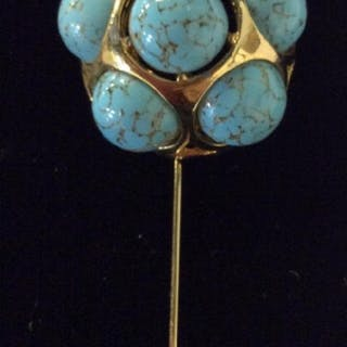 Hat Pin w Turquoise Style Cabochons