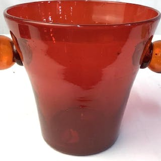 Vntg FENTON Art Glass Vase Bucket