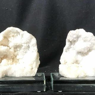 Pair Agate & Glass Bookends