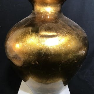 Vintage Gold Leaf Glass Decor Vase