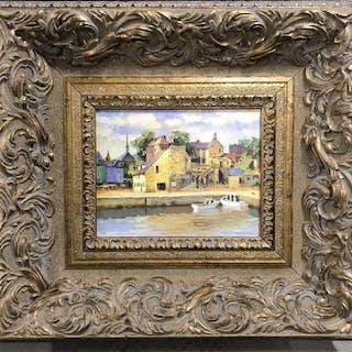 Pair Prints in Ornate Frames, Town Scenes