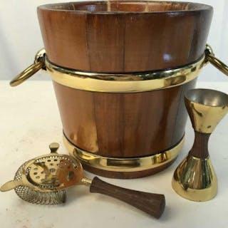 Wood Brass Ice Bucket w Tools