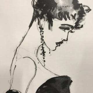 Pair B&W Fashion Prints On Canvas