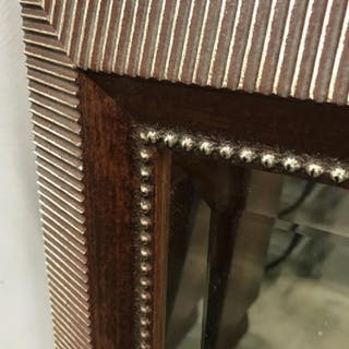 Bombay Co. Beveled Mirror in Textured Wood Frame