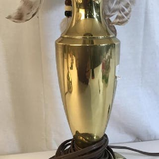 Pair STIFFEL Brass Lamps w Shades