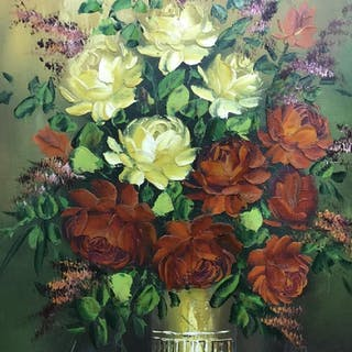 Signed Oil on Canvas, Floral Still Life