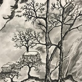 Signed Chinese Watercolor, Winter Landscape