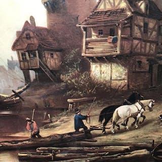 Framed Print Of Colonial Harbor Scene