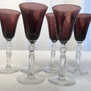 Set 6 Amethyst Glass Stemware Glasses