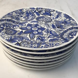 Set 7 French Porcelain Plates