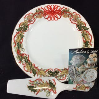Porcelain Holiday Cake Plate W/ Server
