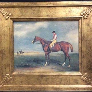 Framed Textured Print, Horse & Jockey