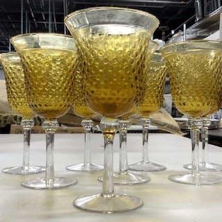 Set 6 Bubble Carmel Toned Glass Stemware