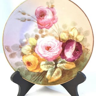 LIMOGES FRANCE Floral Detailed Porcelain Plates