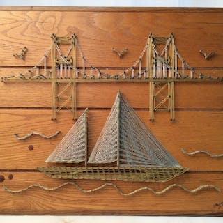 Handmade Bridge & Boats String Art Wall Decoration