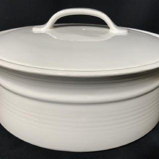 White Toned Lidded Porcelain Serving Pot
