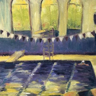Signed Oil on Canvas, Swimmer in Indoor Pool