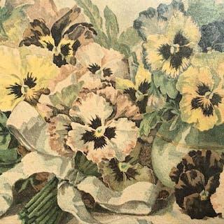 Framed Grace Barton Allen Print, Study Of Pansies