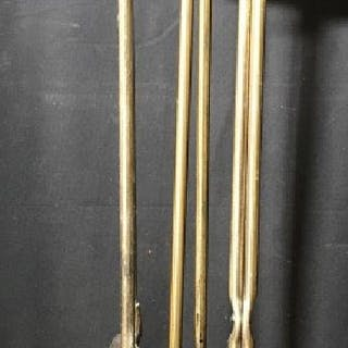 Lot 5 Gold Toned Brass Fireplace Tools