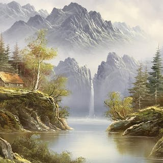 Signed R. BOREN Oil on Canvas, Cabin & Waterfall