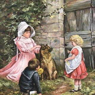 Framed Painting Of Children & Dog