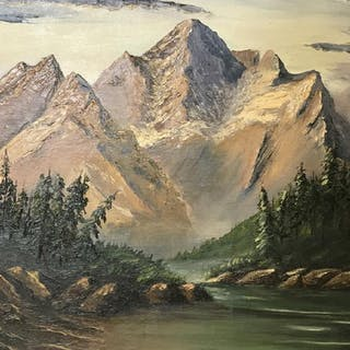 Signed G. WIWEL Oil On Canvas, Mountain Landscape
