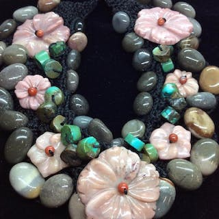 Chunky Natural Stone Beaded Necklace