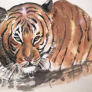 Signed & Framed Watercolor, Studies Of Tigers