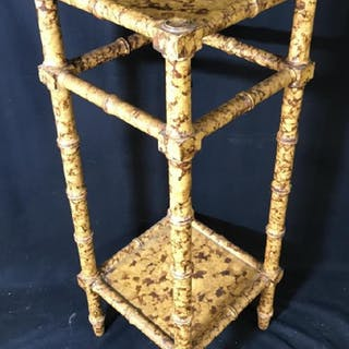 Bamboo Style Two Tiered Side Table Stand