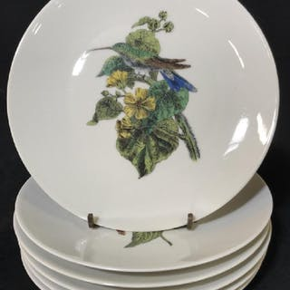 Set 6 Limoges GDA French Porcelain Bird Dishes