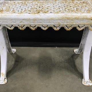 Vintage Painted Iron Garden Bench W Openwork Top